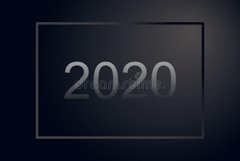 与灰色梯度框架,黑表面无光泽的横幅的新年快乐2020数字 豪华圣诞节飞行物 创造性的摊付休日传染媒介 库存例证