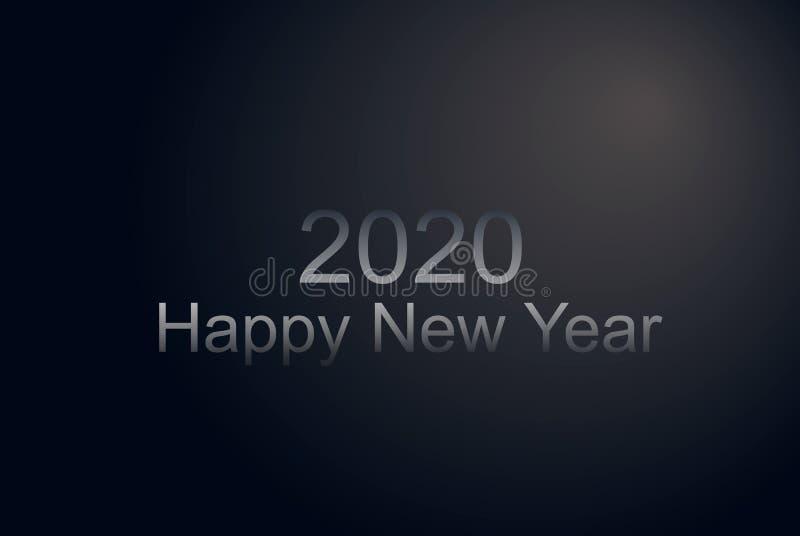 与灰色梯度框架,黑表面无光泽的横幅的新年快乐2020数字 豪华圣诞节飞行物 创造性的摊付休日传染媒介 向量例证