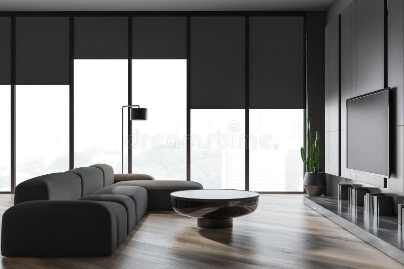 与灰色沙发和电视的客厅内部 库存例证