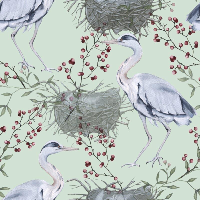 与灰色苍鹭的背景 无缝的模式 向量例证