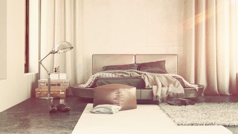 与灰色装饰的豪华卧室内部 向量例证