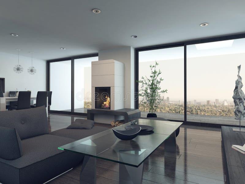 与灰色长沙发和壁炉的客厅内部 库存例证