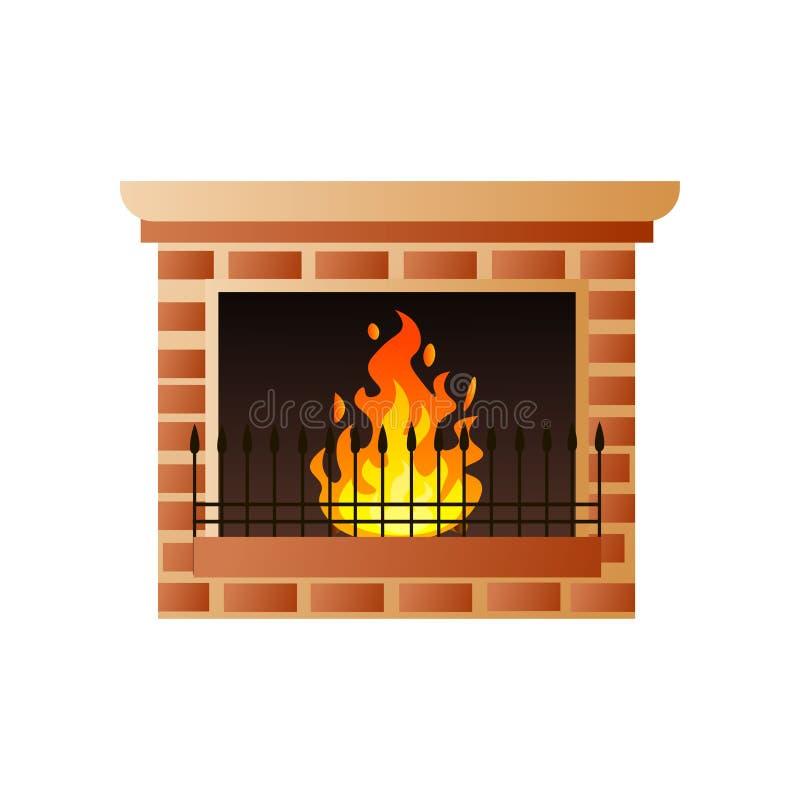 与灼烧的火和金属门的议院经典砖壁炉 库存例证