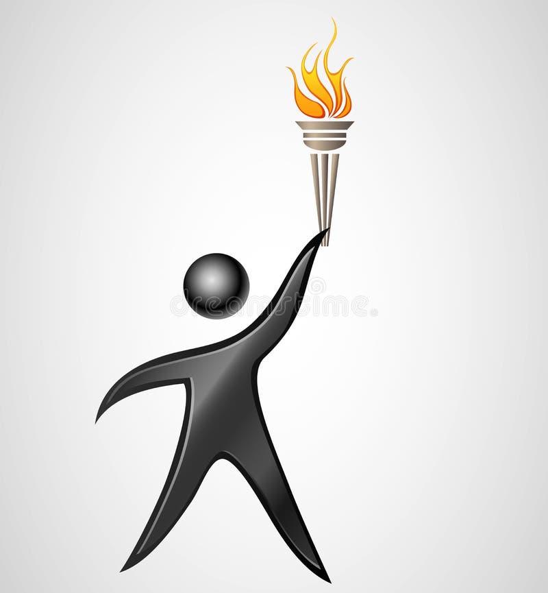 与灼烧的火炬的抽象人剪影 向量例证