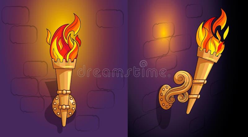 与灼烧的火,华丽装饰,夜的火炬 向量例证