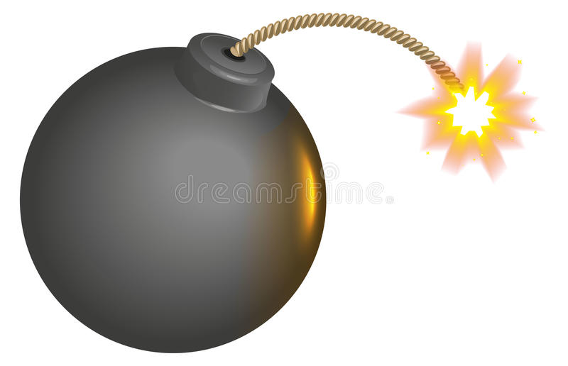 与灼烧的灯芯的黑圆的炸弹