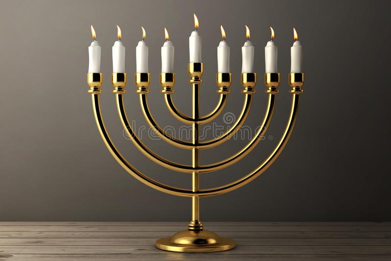 与灼烧的蜡烛的减速火箭的金黄光明节Menorah 3d翻译 皇族释放例证