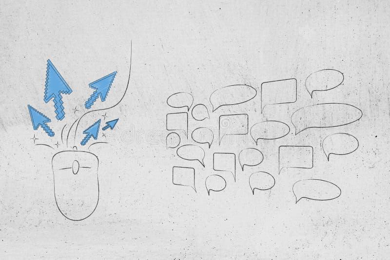 与点击的计算机老鼠在小组评论讲话bubbl旁边 免版税库存图片