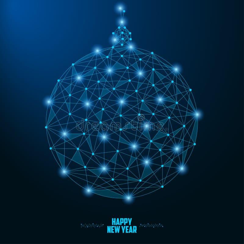 2019与点和线做的圣诞节球的新年例证,在夜空的多角形wireframe滤网与星 向量 向量例证