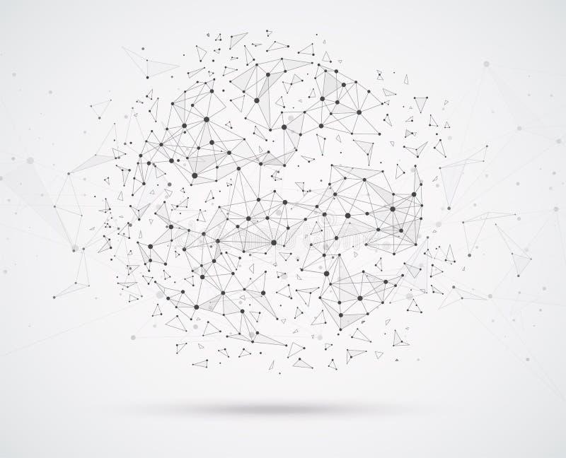 与点和线几何形状的全球网络连接 皇族释放例证