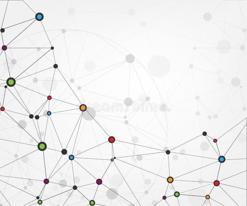 与点和线的全球网络连接 抽象背景技术 与被连接的点的分子结构 Vecto 皇族释放例证