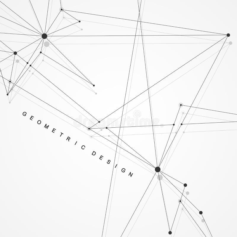 与点和线的全球网络连接 Wireframe背景 抽象连接结构 多角形空间 库存例证