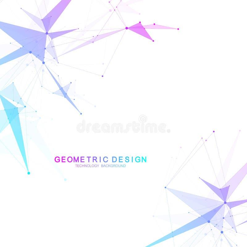 与点和线的全球网络连接 Wireframe背景 抽象连接结构 多角形空间 向量例证
