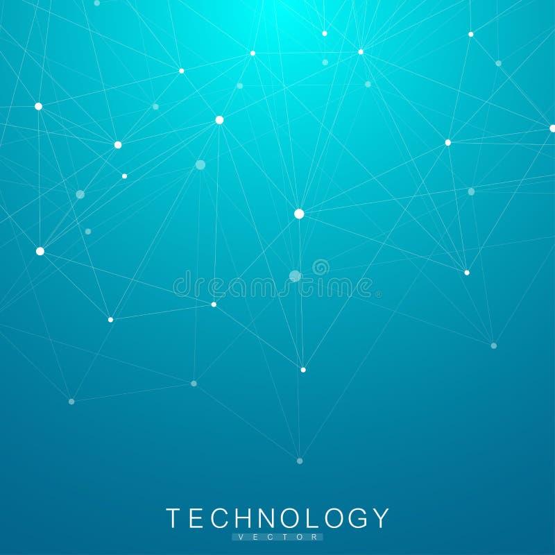 与点和线的全球网络连接 Wireframe背景 抽象连接结构 多角形空间 皇族释放例证