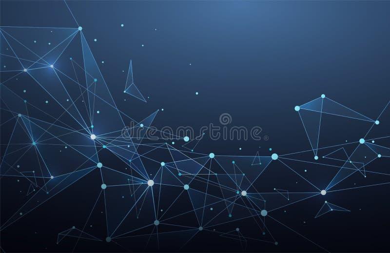与点和线的抽象全球网络连接 Wiref 向量例证