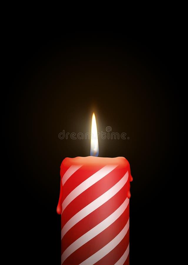 与烛光和白色条纹纹理的灼烧的红色蜡烛 皇族释放例证