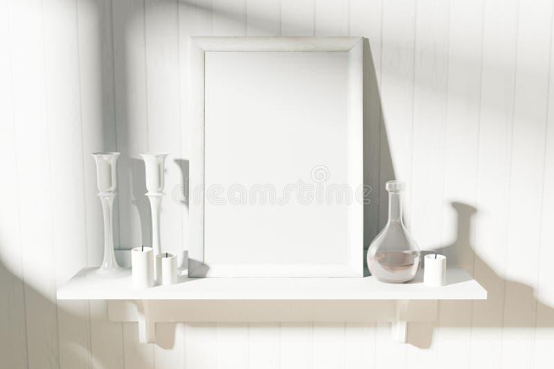 与烛台和蒸馏瓶的空白的白色画框 库存例证