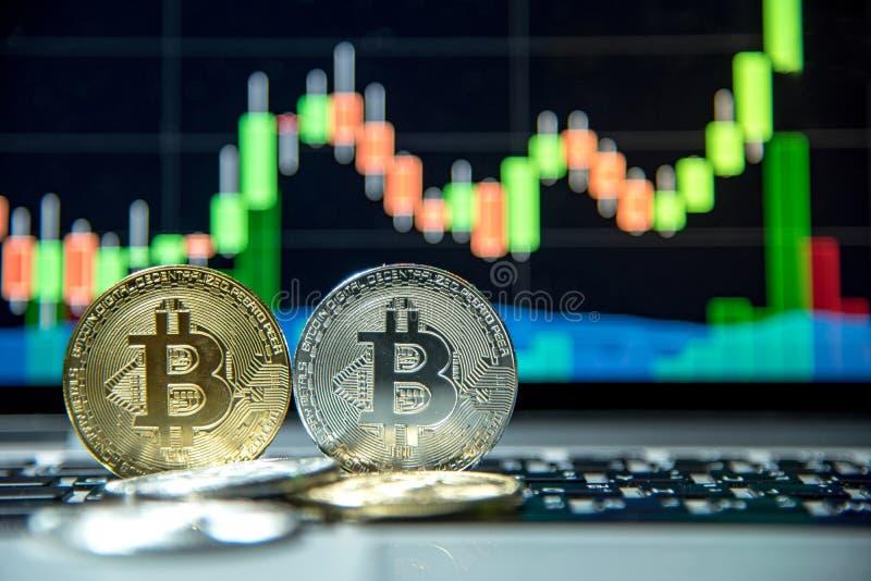 与烛台图表、cryptocurrency和数字式payme的Bitcoin 免版税库存图片