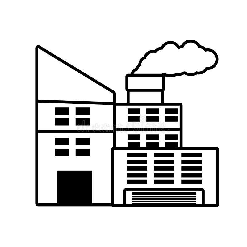 与烟囱概述的能源厂大厦 向量例证