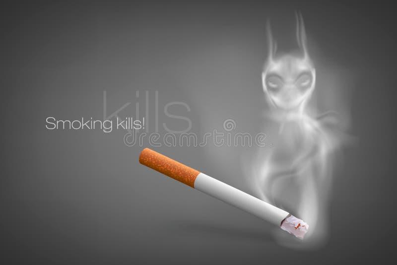 与烟的闷燃的香烟 皇族释放例证