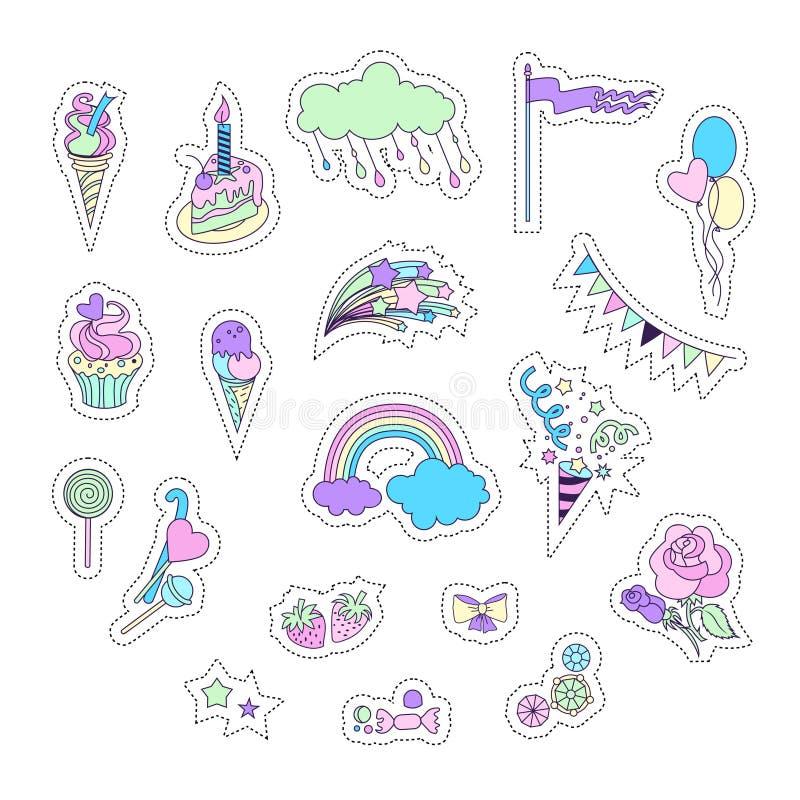 与烟花、星、蛋糕、甜点、冰淇凌、云彩、气球和旗子的独角兽多色贴纸 皇族释放例证