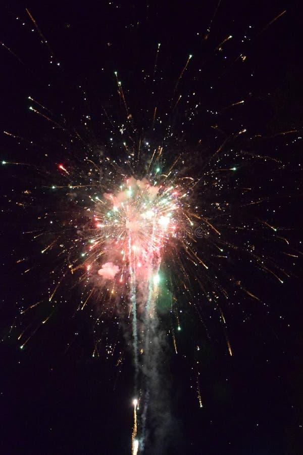 与烟花的庆祝在晚上 图库摄影