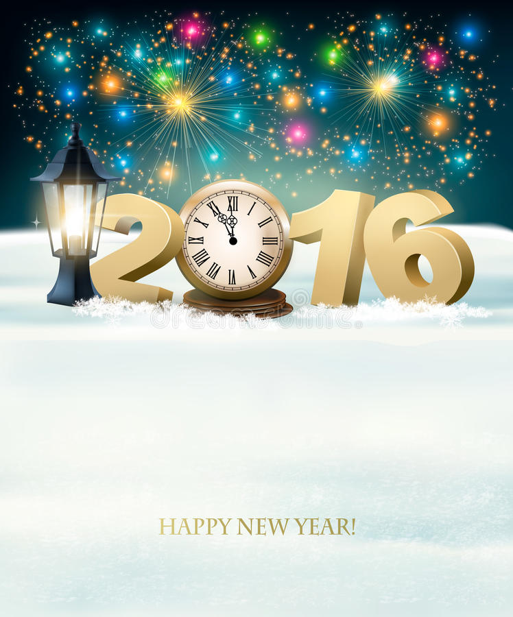 与烟花的新年快乐2016年背景 皇族释放例证