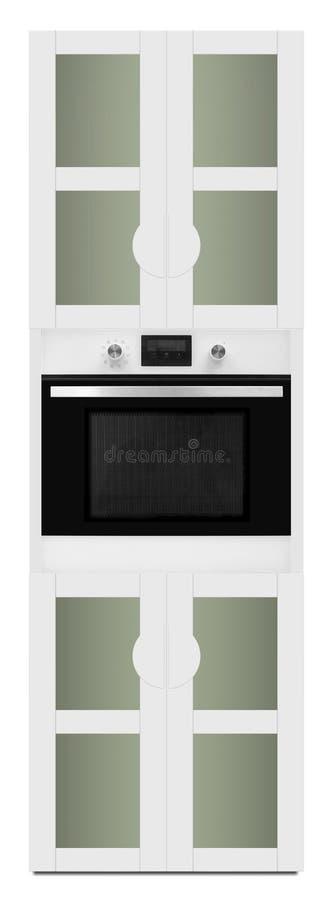 与烤箱的厨房事例 库存照片