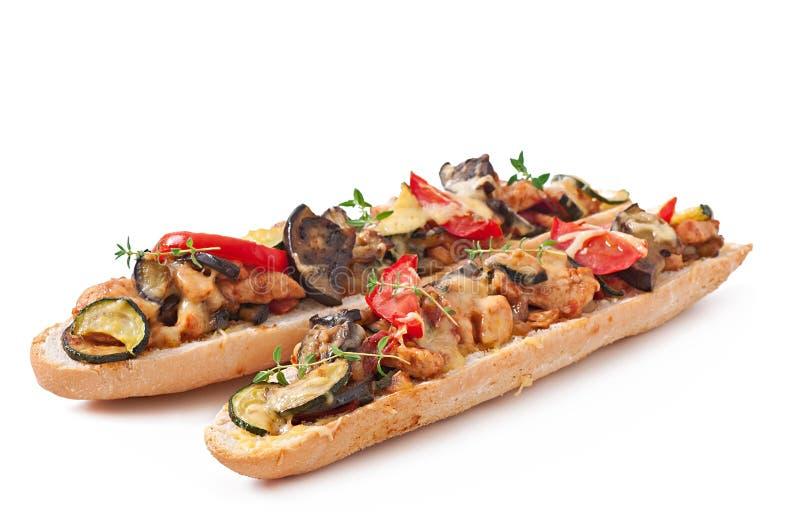 与烤菜的大三明治 库存图片