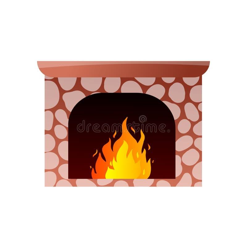 与烧热的火的红色石壁炉在山 库存例证