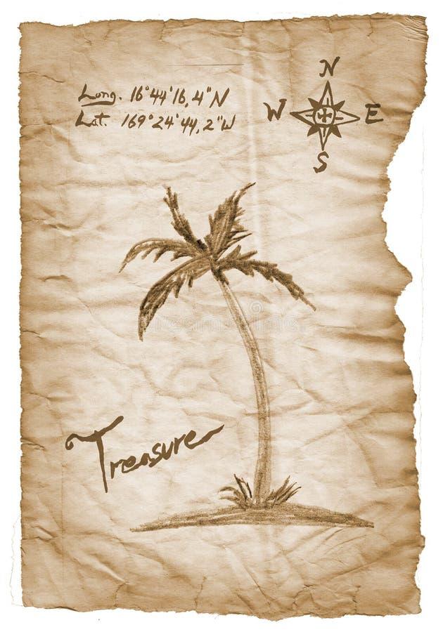 与烧的老珍宝地图,在白色的边缘 库存例证