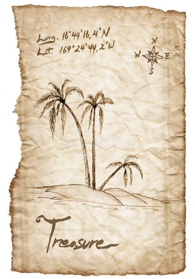 与烧的老珍宝地图,在白色的边缘 皇族释放例证