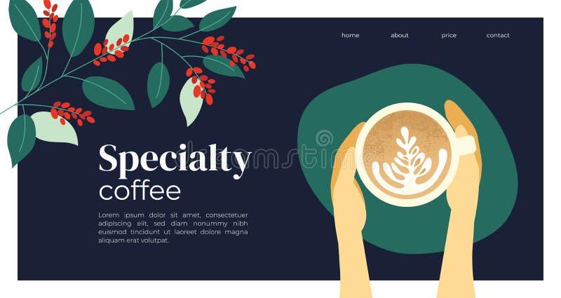 与热奶咖啡和咖啡植物的模板设计 免版税库存图片
