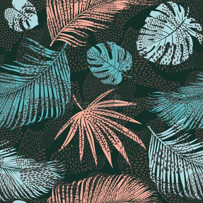 与热带动植物印刷品的时髦无缝的异乎寻常的样式 也corel凹道例证向量 纸的,墙壁现代抽象设计 库存例证
