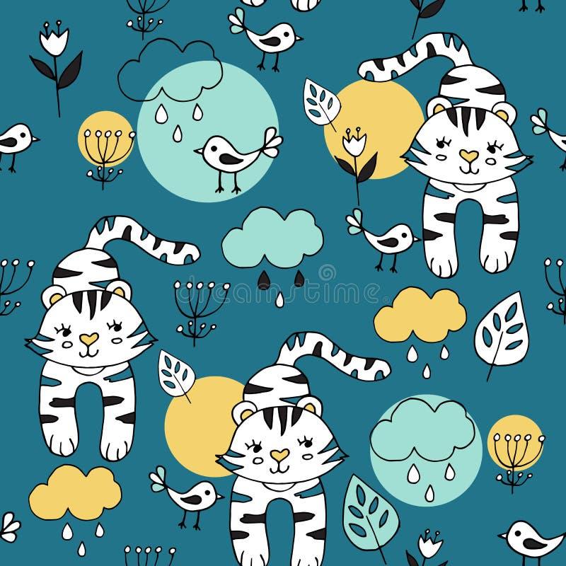 与热带动物的逗人喜爱的无缝的样式在蓝色背景 老虎和鸟在密林 向量例证