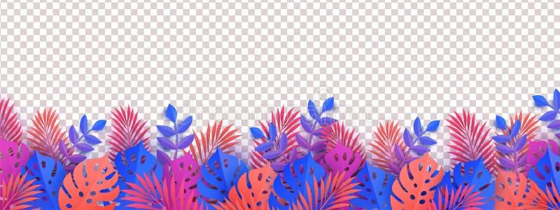与热带叶子、在背景隔绝的植物和棕榈叶的夏天水平的边界 库存例证