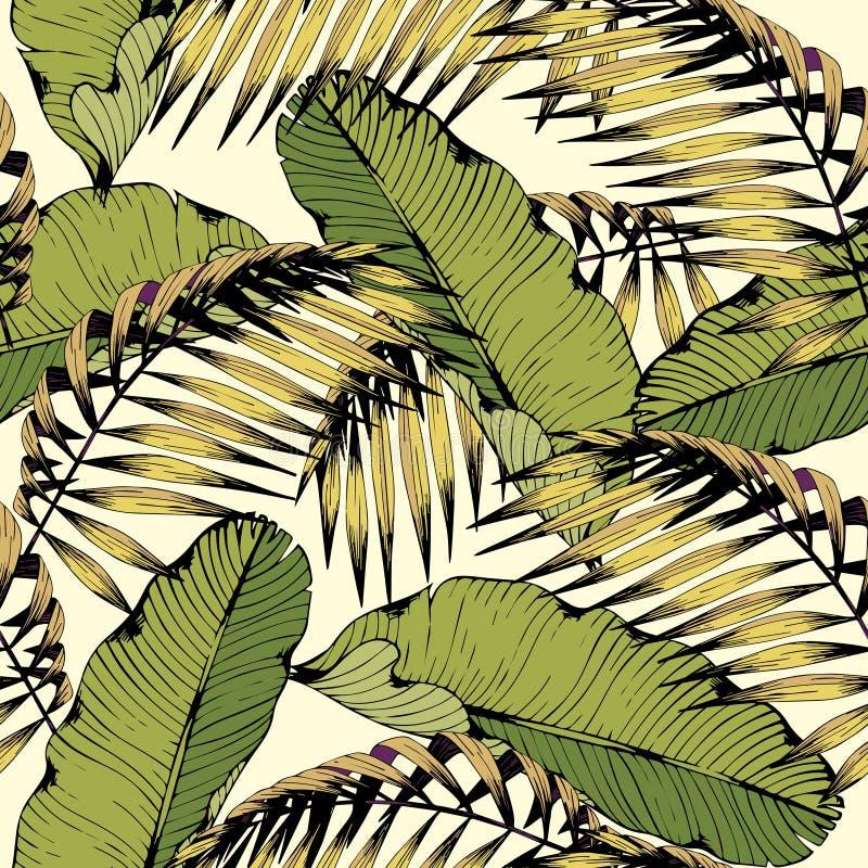 与热带叶子和分支的夏天无缝的样式 设计的传染媒介装饰背景 库存例证