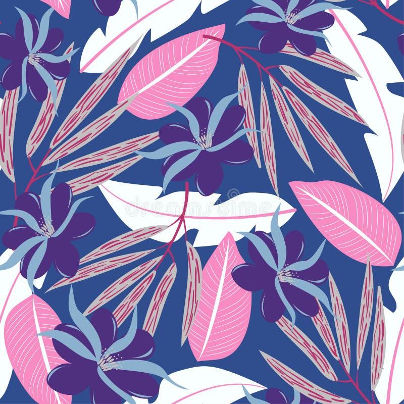 与热带叶子和花的夏天无缝的样式在蓝色背景 E 密林印刷品 打印和纺织品 向量例证