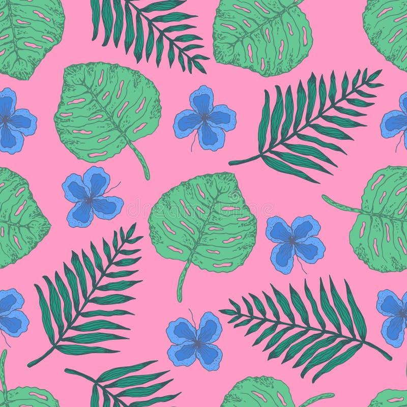 与热带叶子和花的夏天样式 库存例证