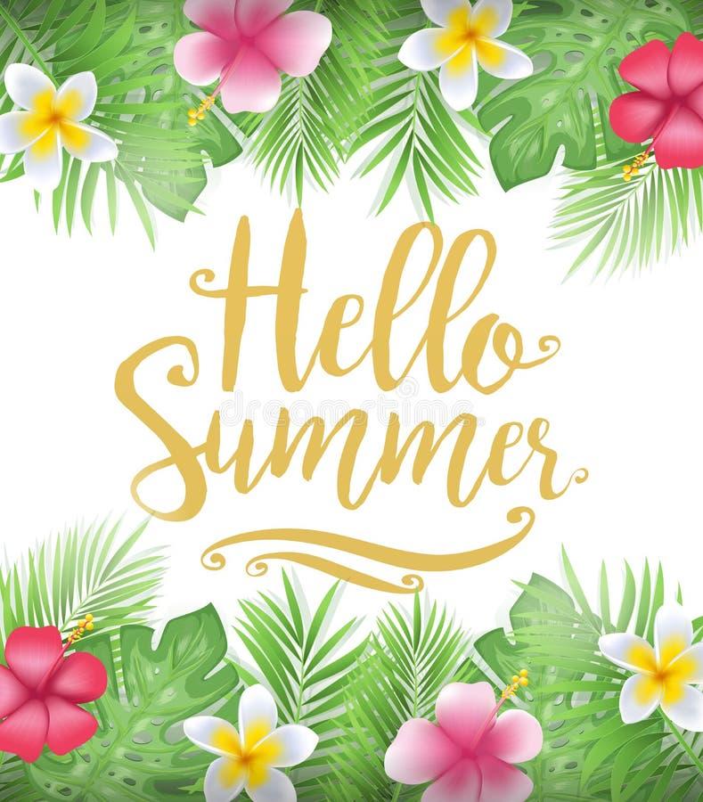 与热带叶子和花的美丽的花卉你好夏天海报 向量例证