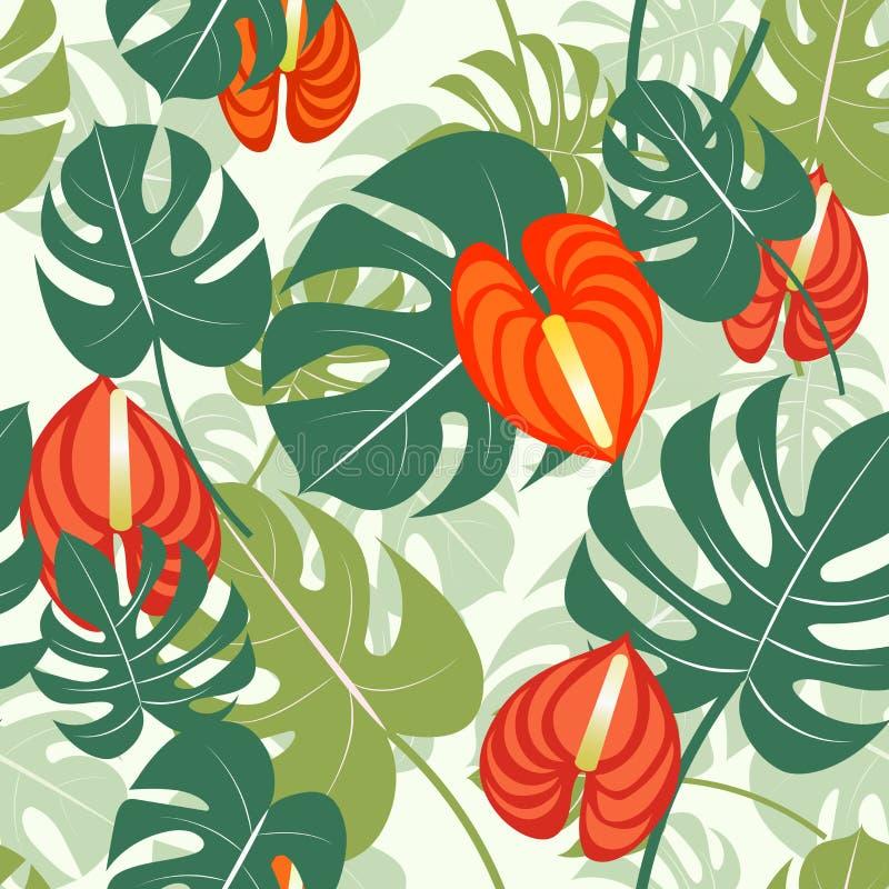 与热带叶子的传染媒介例证 与风格化monstera叶子和花的无缝的热带样式 向量例证