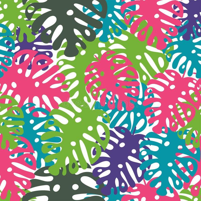 与热带叶子的传染媒介无缝的时髦样式,夏天设计 皇族释放例证