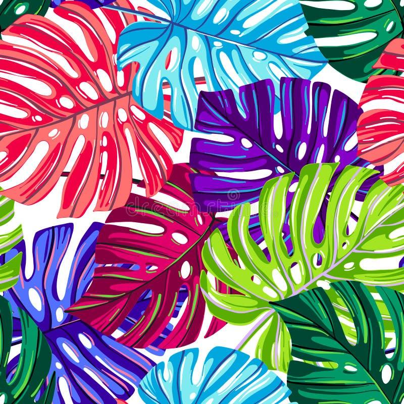 与热带叶子的传染媒介无缝的样式 构造热带 密林花卉反复性的背景 Monstera叶子 皇族释放例证