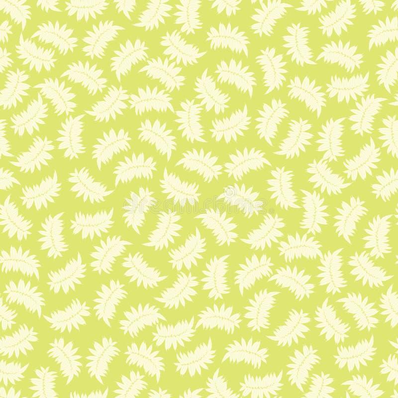 与热带叶子的传染媒介浅绿色的无缝的样式 适用于纺织品、缎带包装和墙纸 库存例证