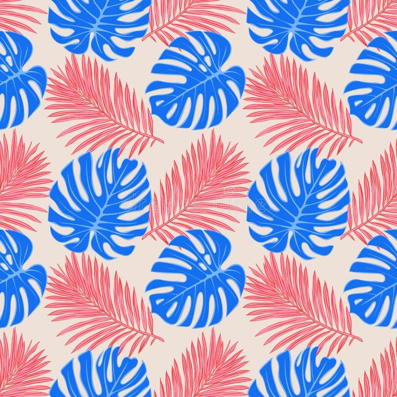 与热带叶子的无缝的样式:棕榈,monstera,密林叶子无缝的传染媒介样式背景 游泳衣植物的de 向量例证