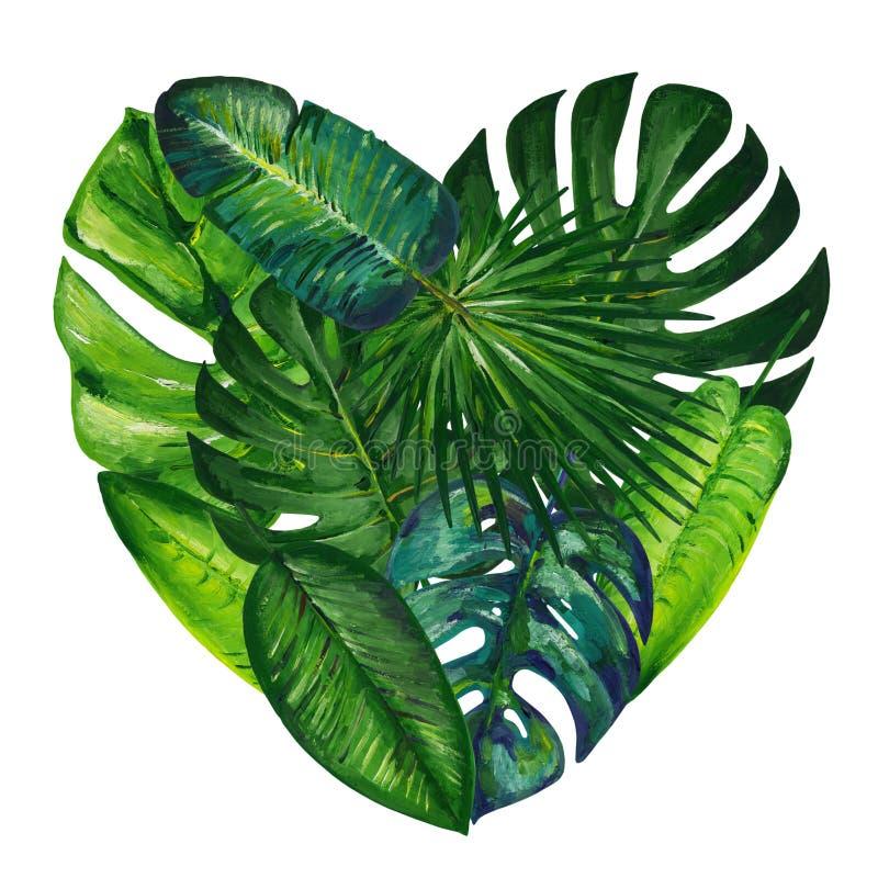 与热带叶子的树胶水彩画颜料心脏 r 库存图片