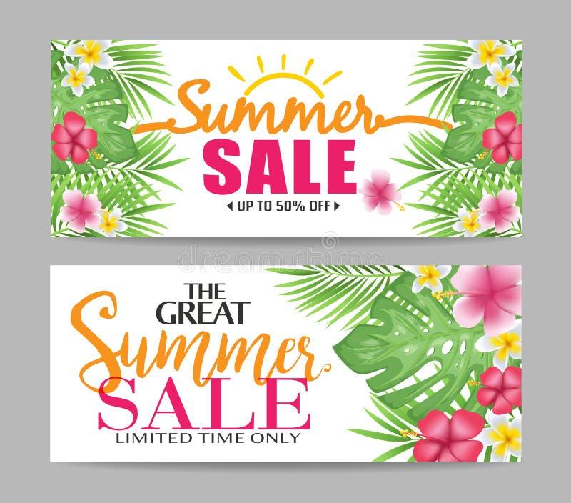 与热带叶子的花卉夏天销售横幅 向量例证