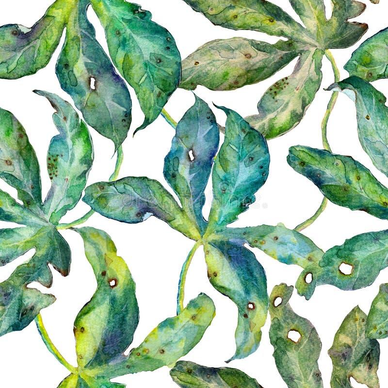 与热带叶子的水彩无缝的样式 皇族释放例证