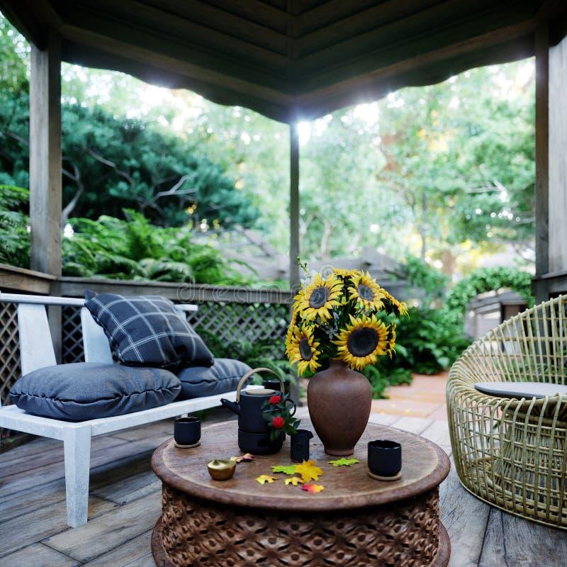 与热带庭院的老凹室视图在雨概念照片背景以后 库存照片