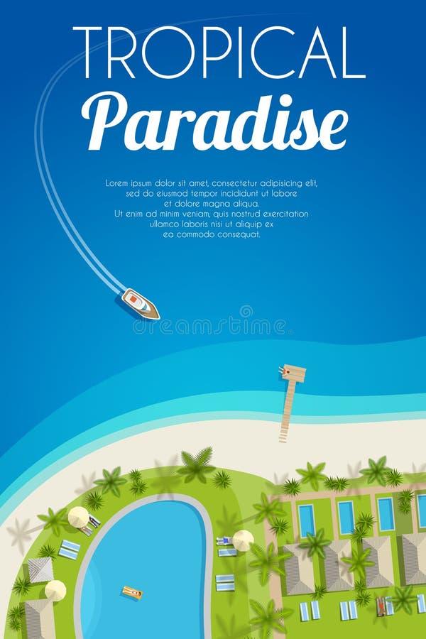 与热带旅馆和汽艇的晴朗的夏天背景 向量例证, EPS10 皇族释放例证